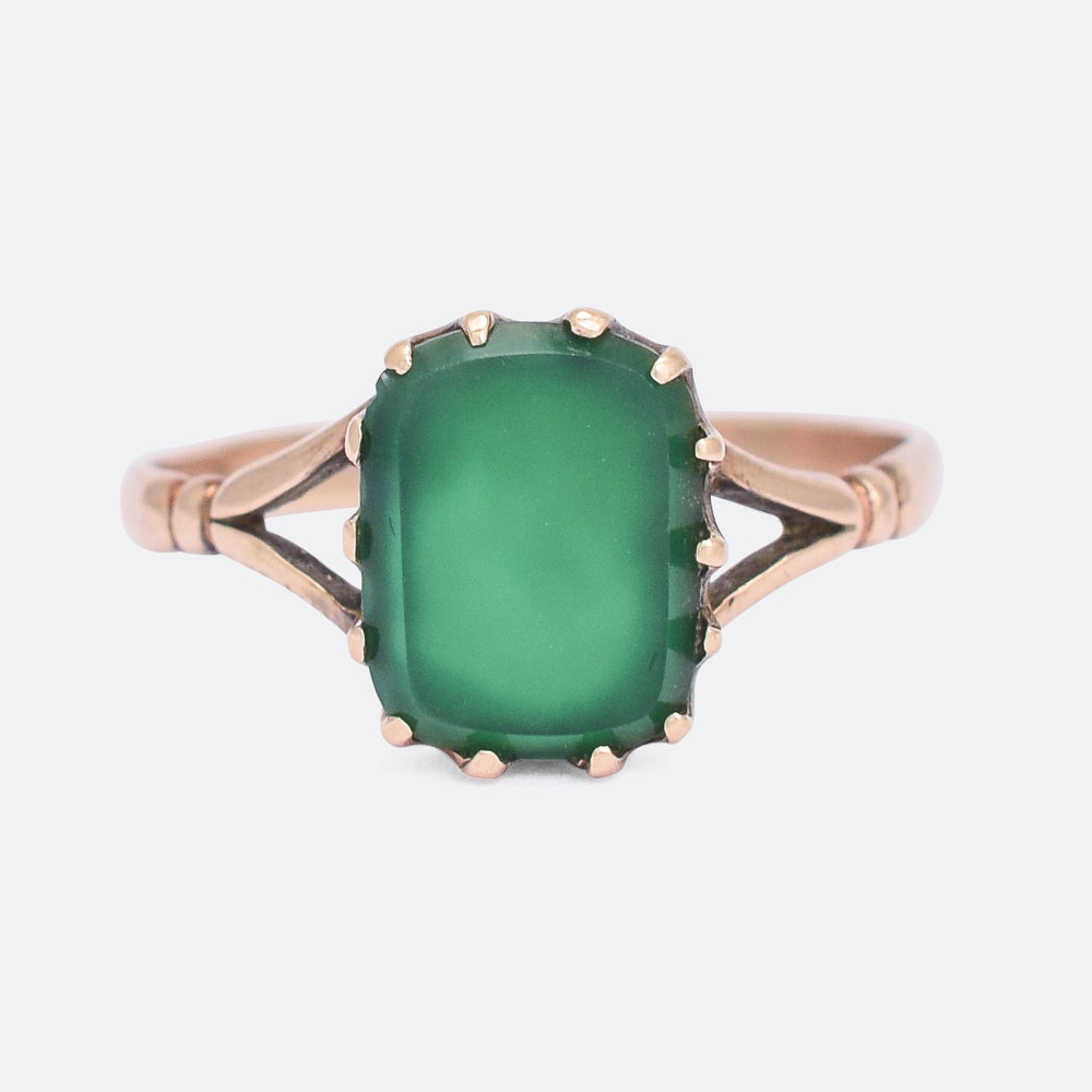 Victorian Chalcedony Cushion Signet Ring