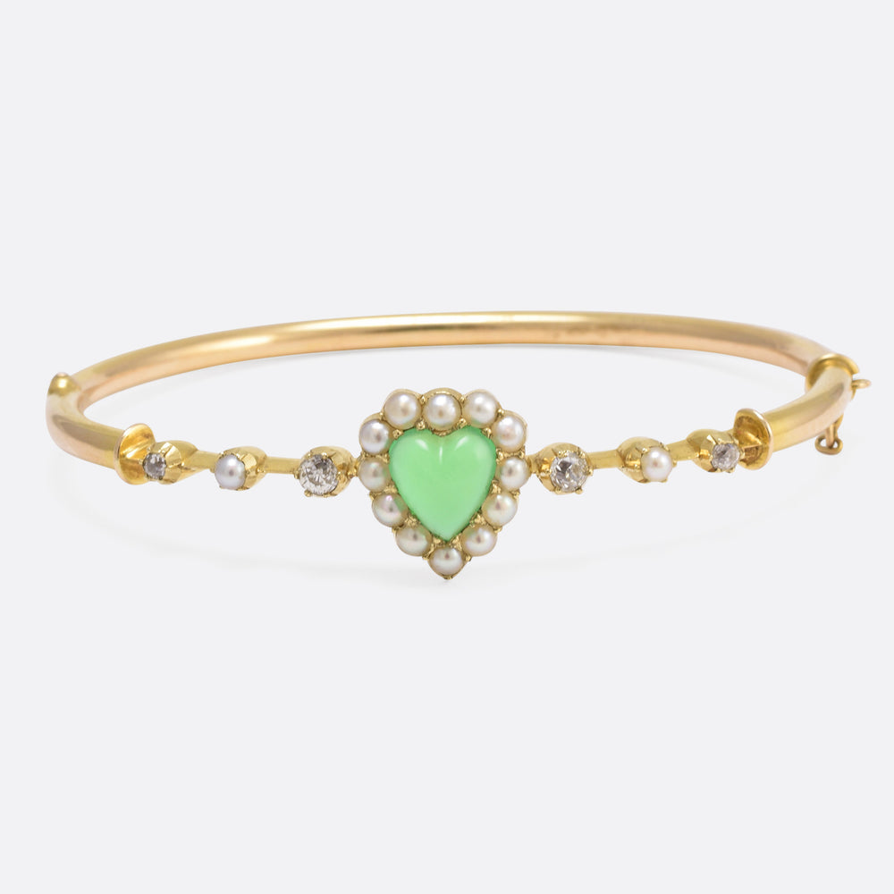 Victorian Chrysophrase Pearl & Diamond Heart Bangle