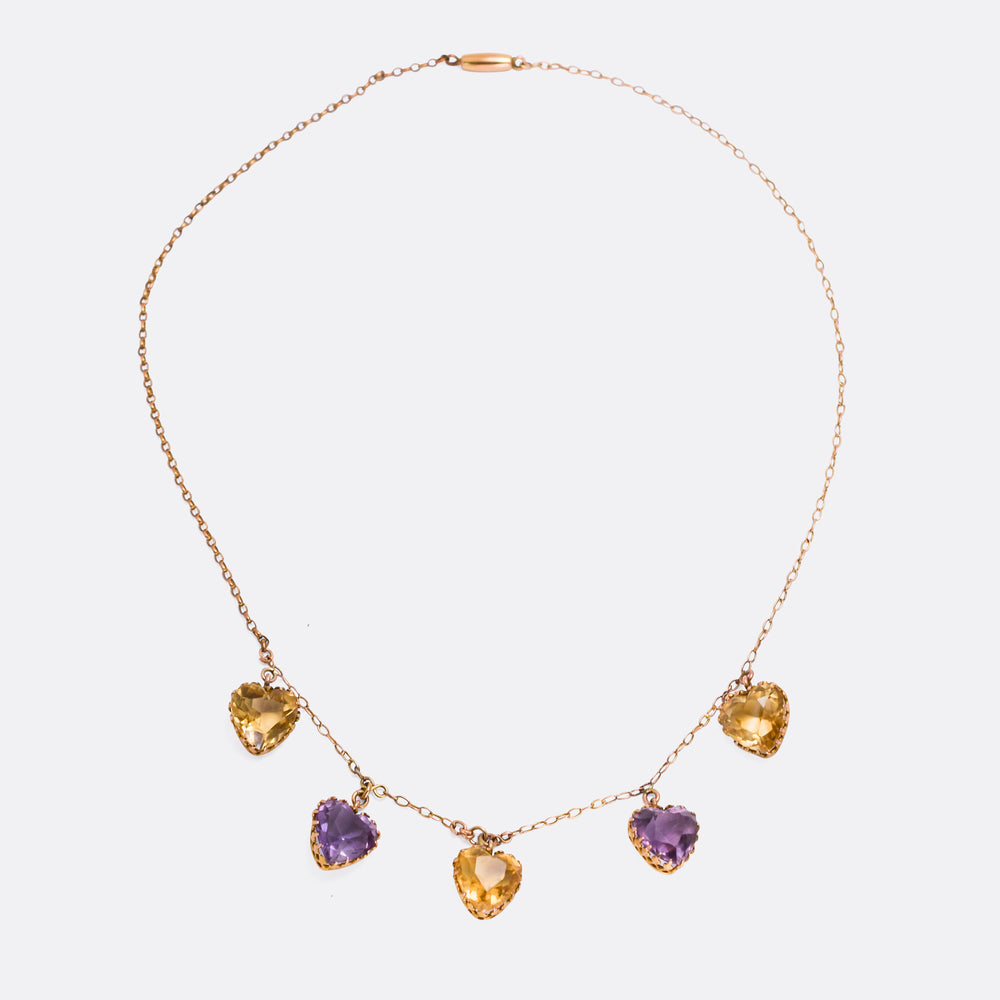 Victorian Citrine & Amethyst Heart Necklace