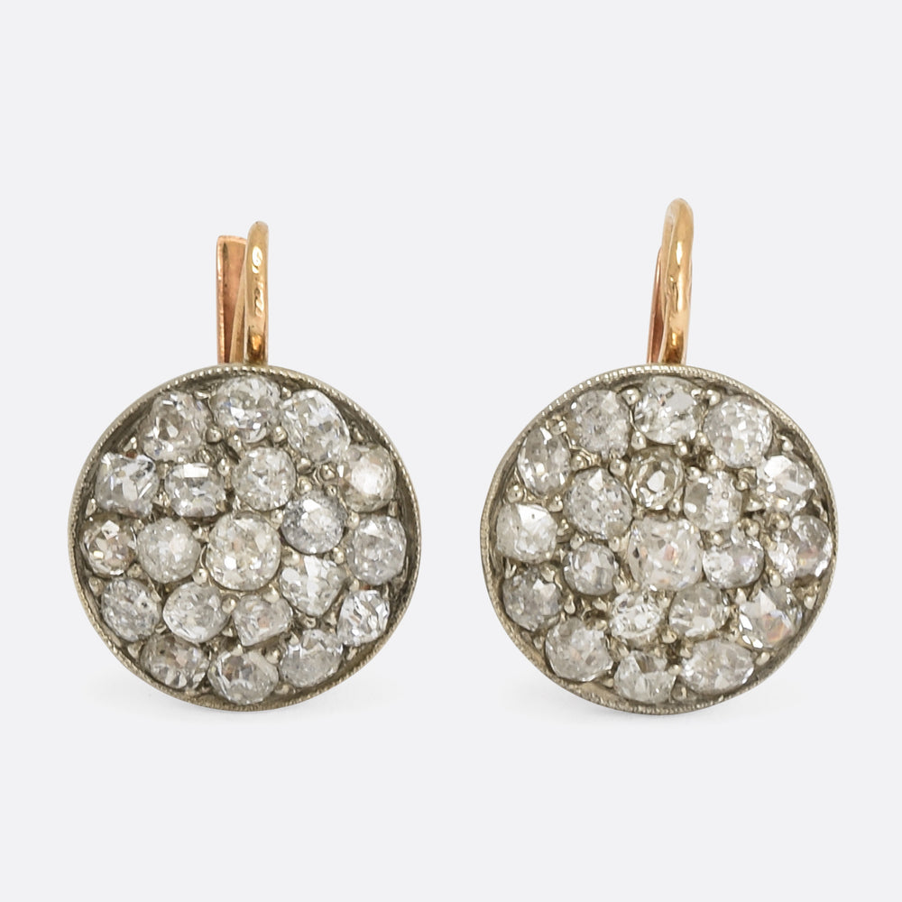 Victorian Cobble Stone Diamond Cluster Earrings