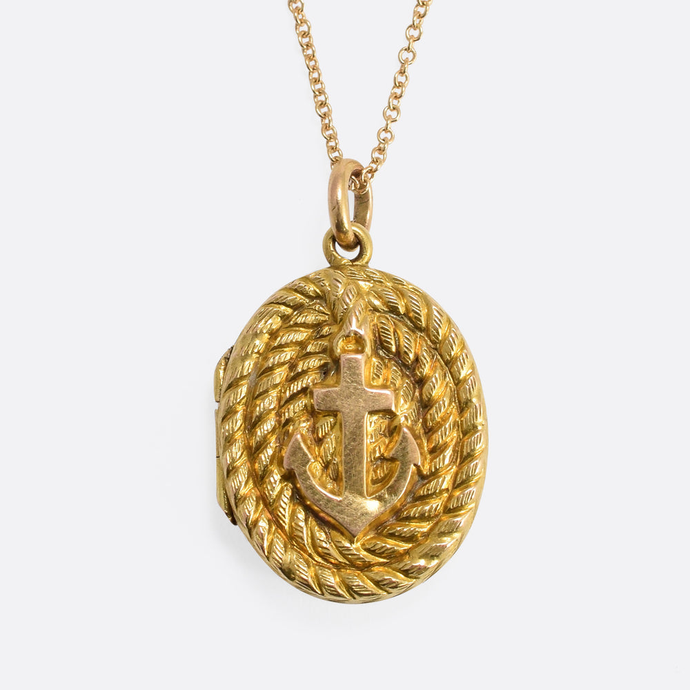 Victorian Coiled Rope & Anchor Locket