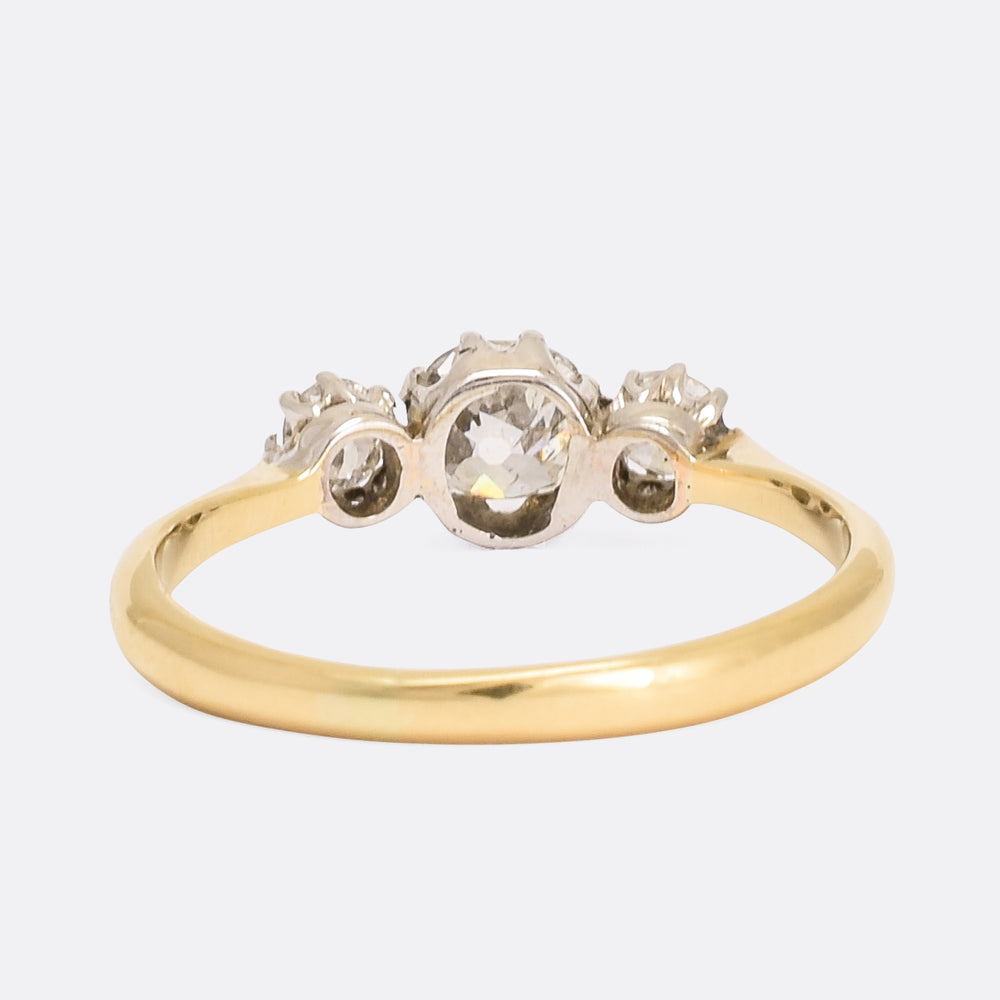 Victorian Cushion Cut Diamond Trilogy Ring