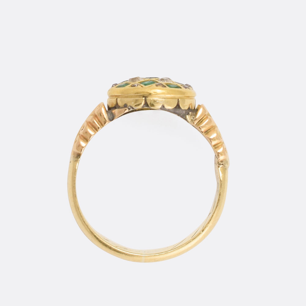Victorian Demantoid Garnet & Diamond Chequerboard Ring