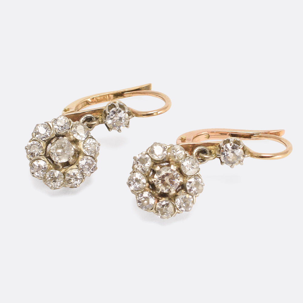 Victorian Diamond Cluster Earrings