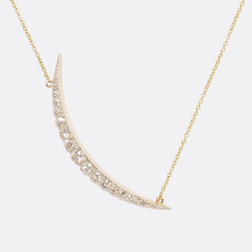 Victorian Diamond Crescent Necklace