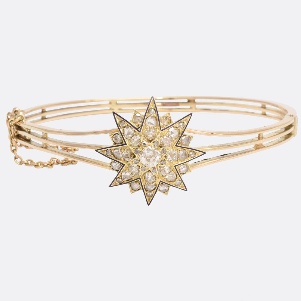 Victorian Diamond & Enamel Star Bangle