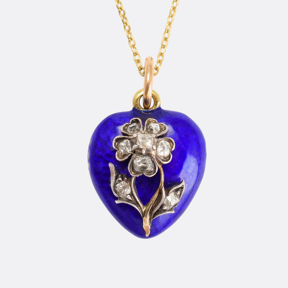 Victorian Diamond Forget-Me-Not Heart Locket