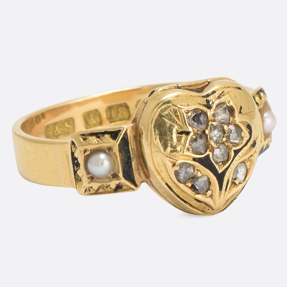 Victorian Diamond Forget-Me-Not Heart Locket Ring