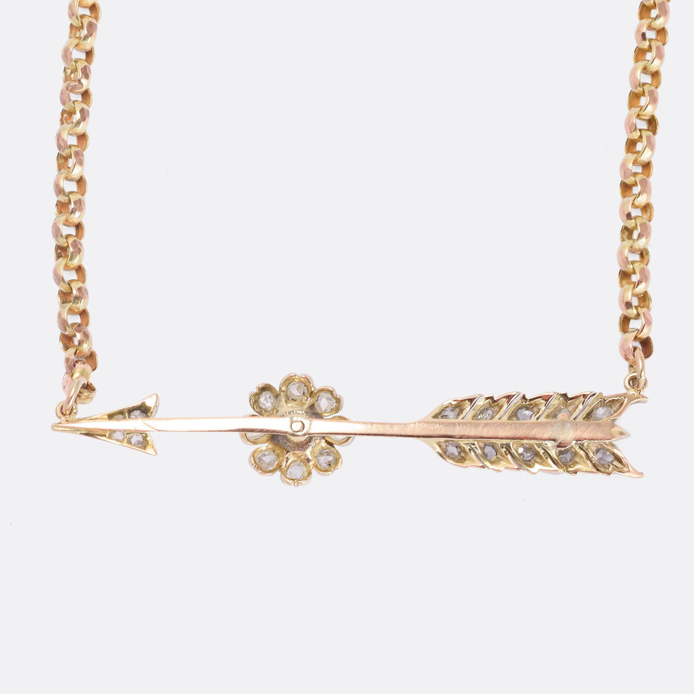 Victorian Diamond & Pearl Arrow Necklace