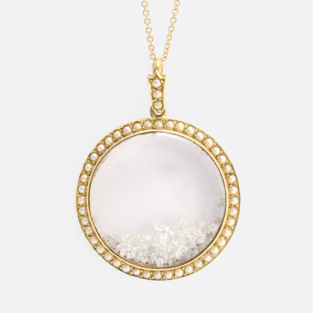 "Victorian Diamond & Pearl ""Shake Locket"""