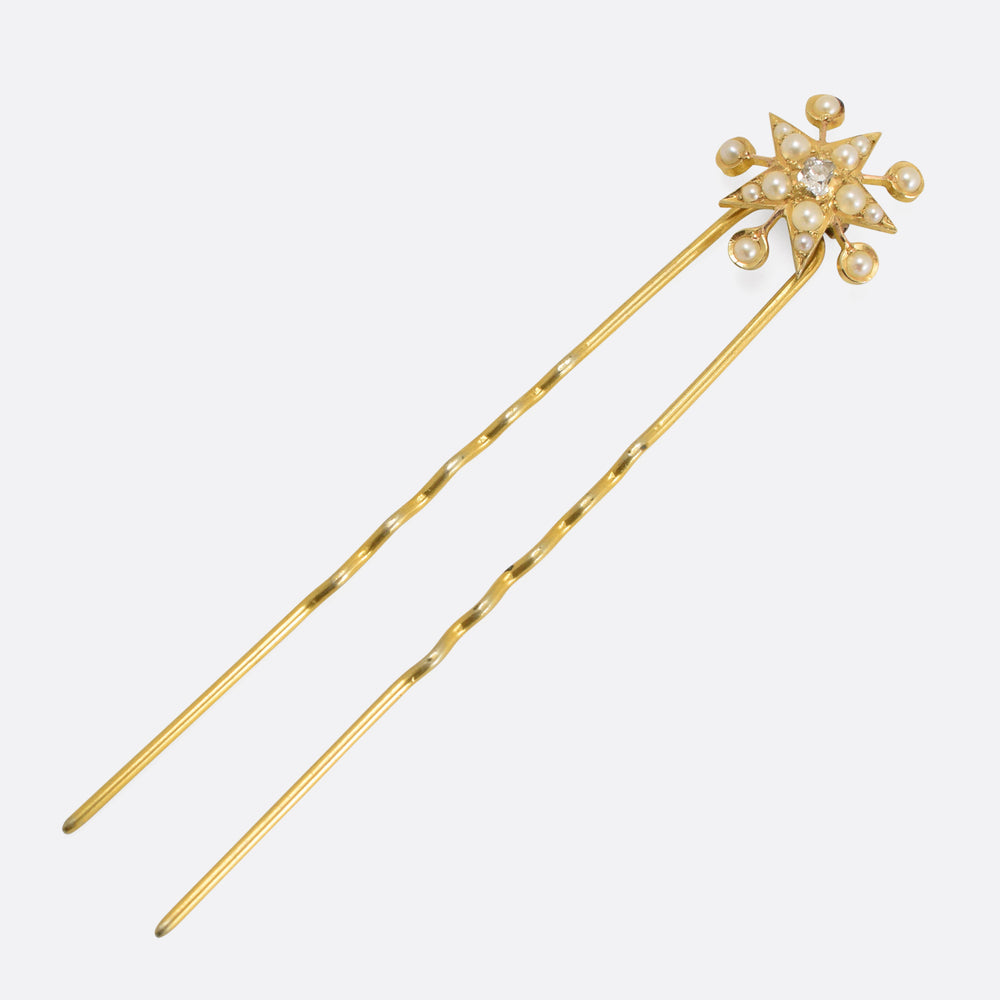 Victorian Diamond & Pearl Star & Circles Hair Pin