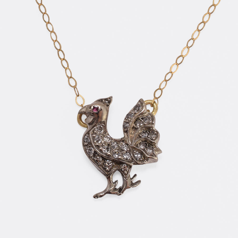 Victorian Diamond Rooster Pendant