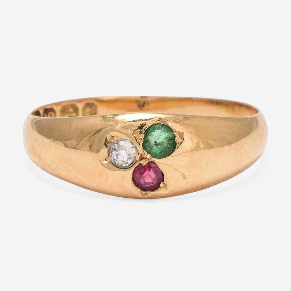 Victorian Diamond, Ruby & Emerald Clover Ring