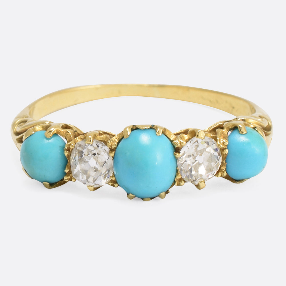 Victorian Diamond & Turquoise 5-Stone Ring