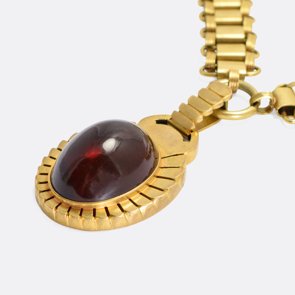 Victorian Egyptian Revival Garnet Scarab Necklace