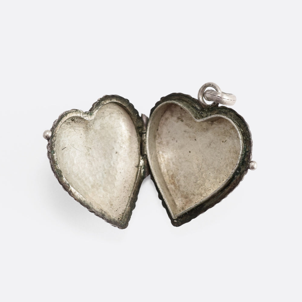 Victorian Embossed Silver Heart Locket