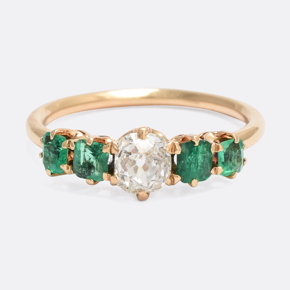 Victorian Emerald & Diamond 5-Stone Ring