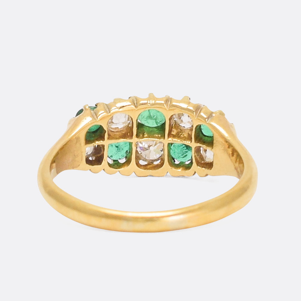 Victorian Emerald & Diamond Chequerboard Ring