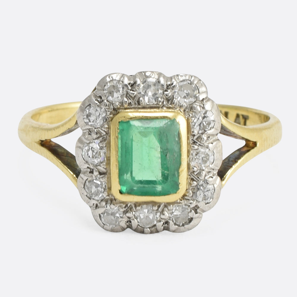 Victorian Emerald & Diamond Picture Frame Ring