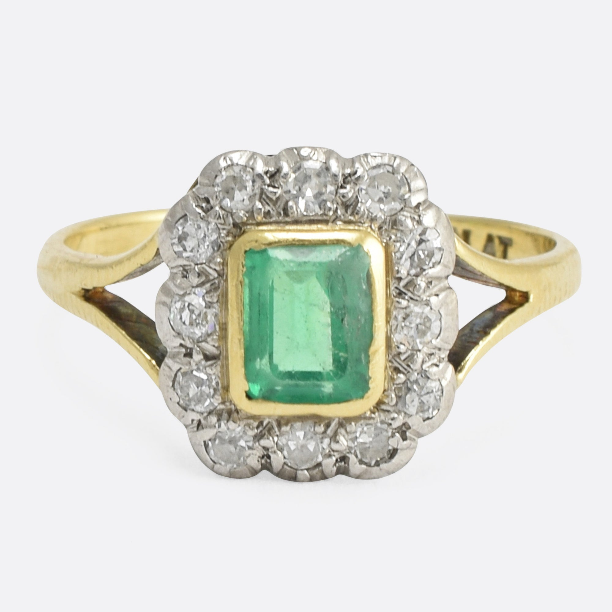 Victorian Emerald Diamond Picture Frame Ring Butter Lane Antiques