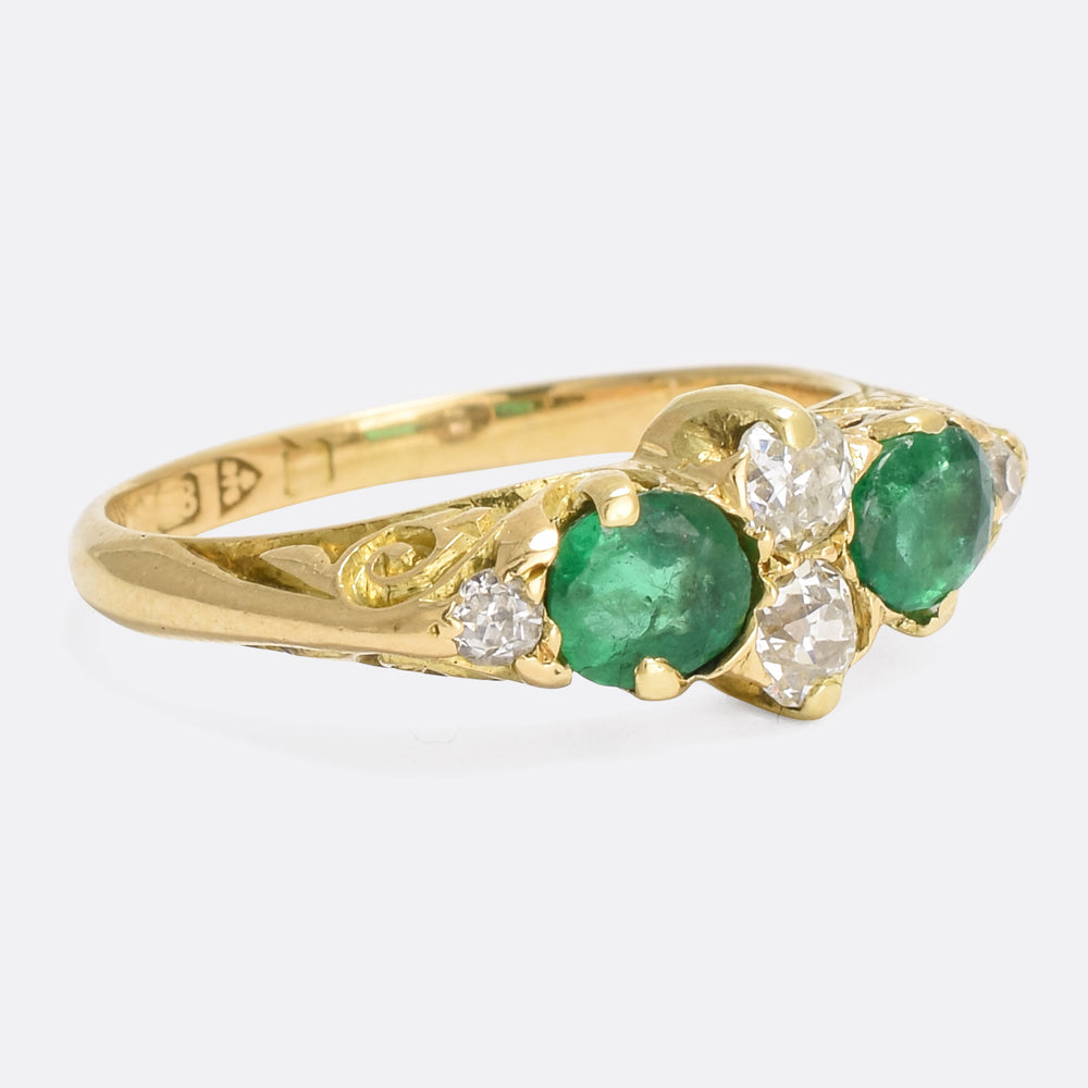Victorian Emerald & Diamond Scrolled Ring