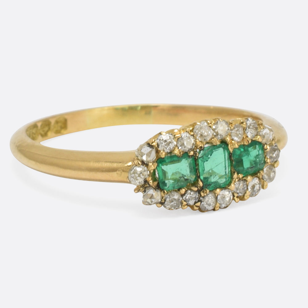Victorian Emerald & Diamond Three-Stone Cluster Ring