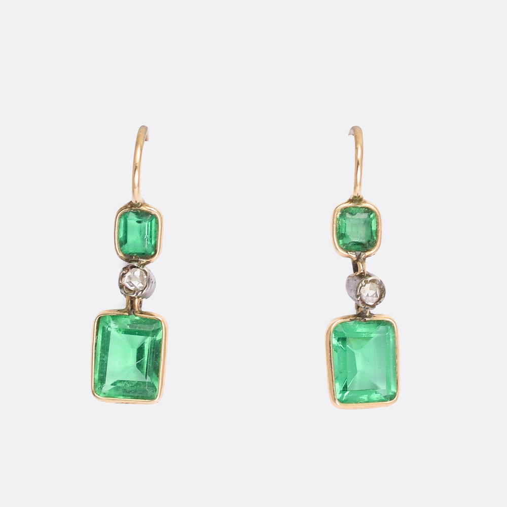 Victorian Emerald Paste & Diamond Earrings