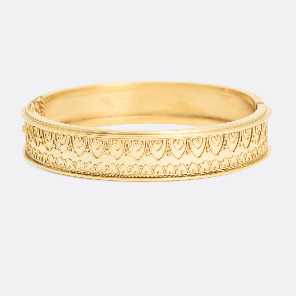 Victorian Etruscan Revival 15k Gold Bangle