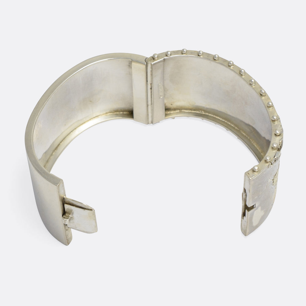 Victorian Etruscan Revival Silver Bangle