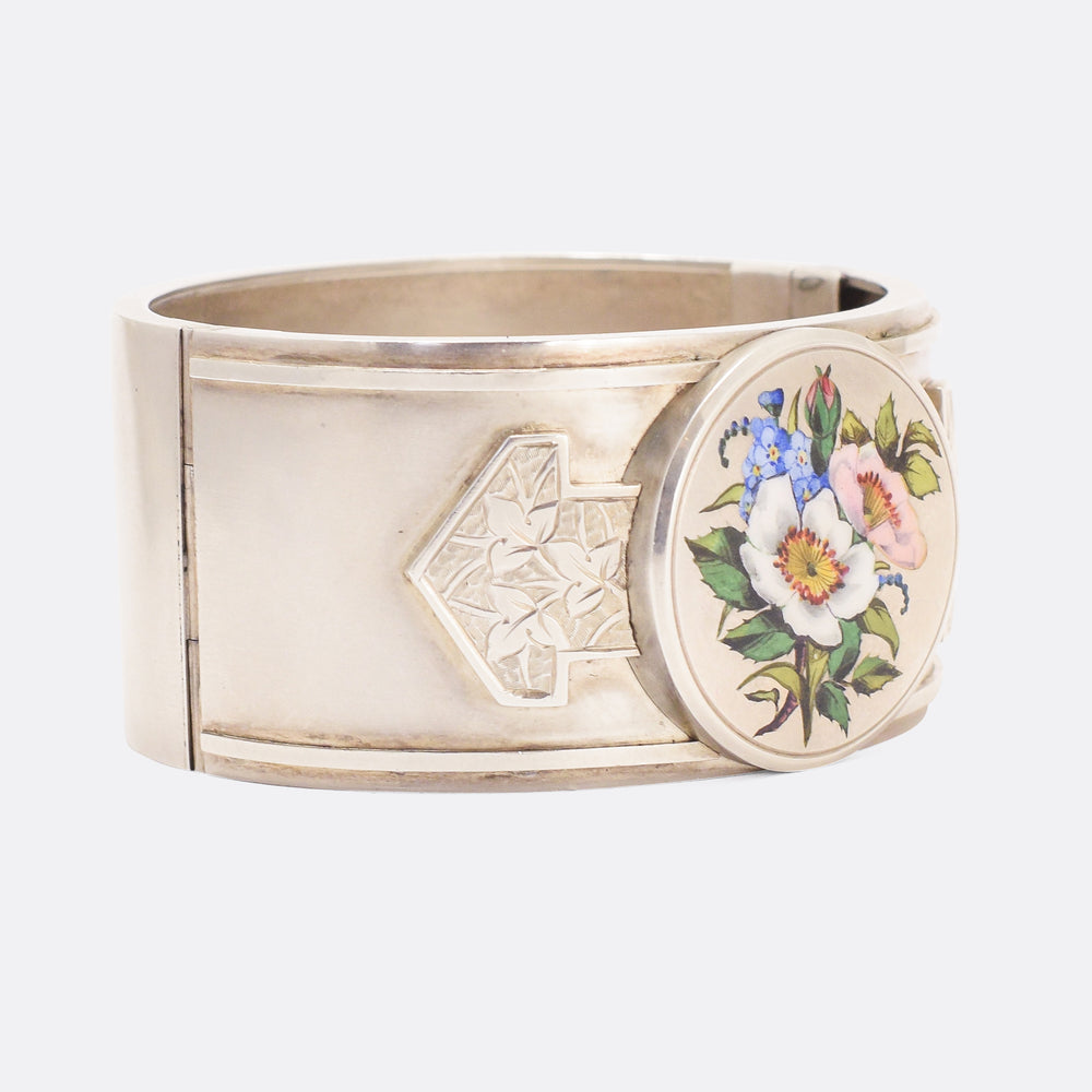 Victorian Flower Bunch Silver Cuff Bangle