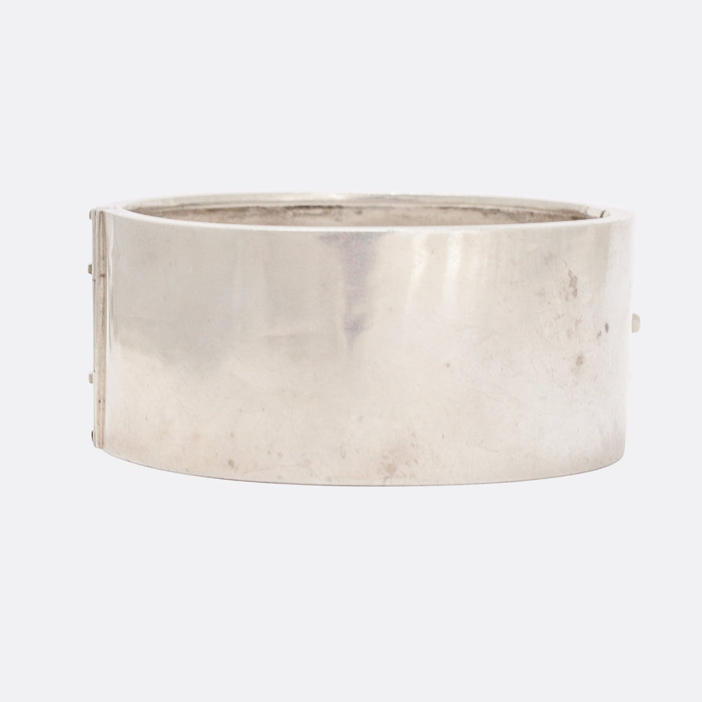 Victorian Foilate Chased Silver Cuff Bangle