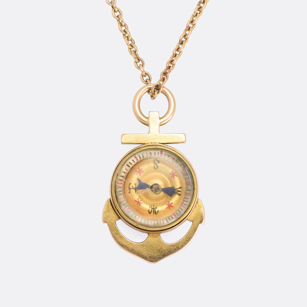 Victorian Gold Anchor Compass Pendant