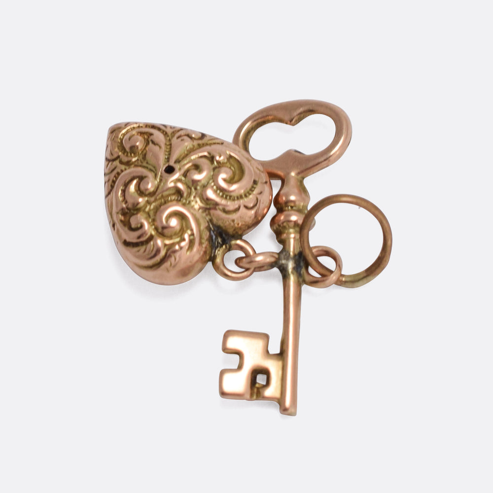 Victorian Gold Key to My Heart Pendant