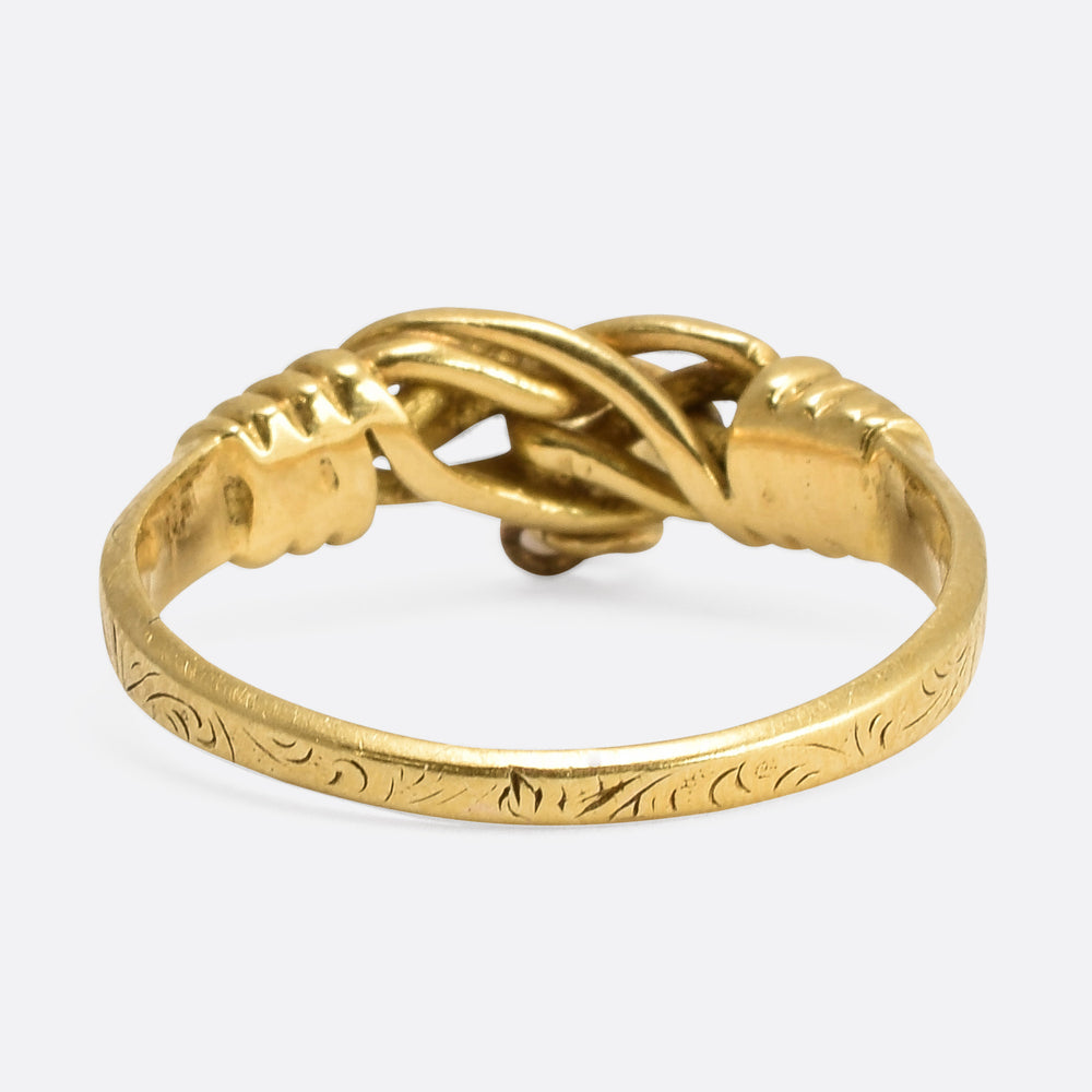 Victorian Gold Lover's Knot Coral Heart Ring