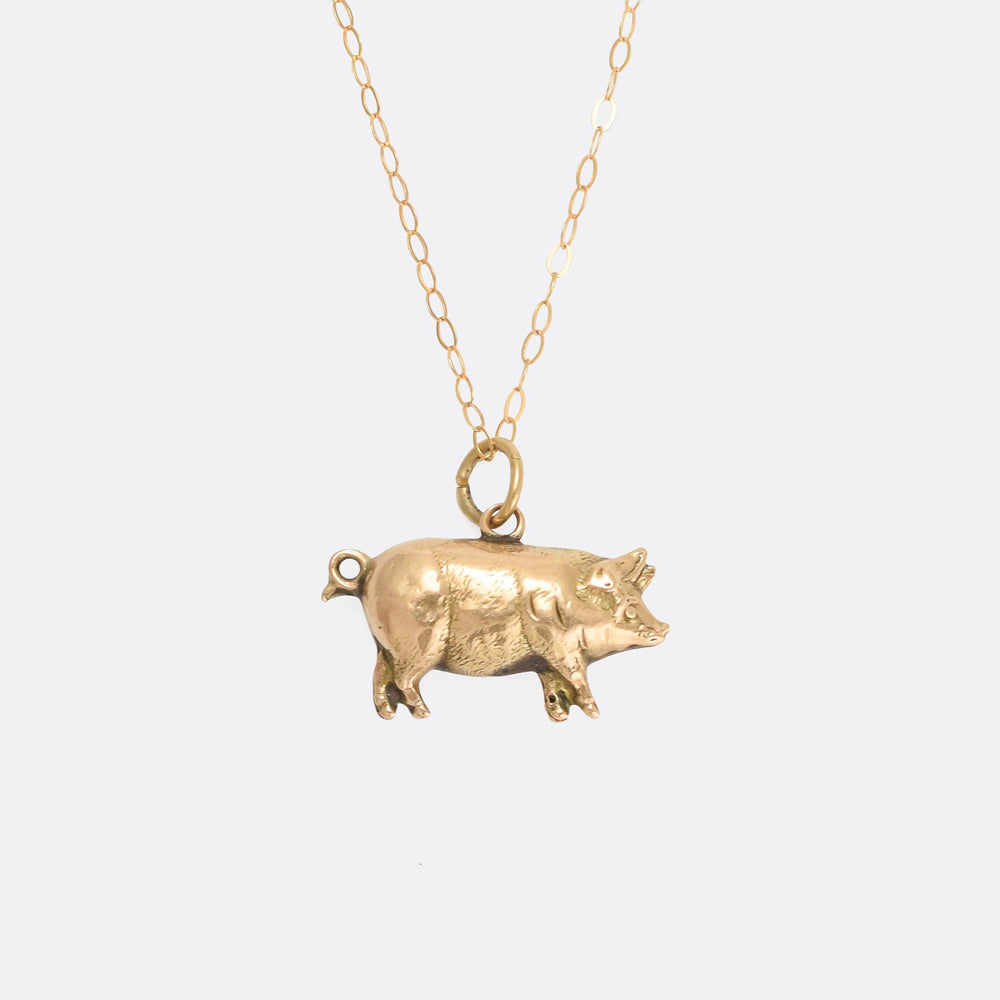 Victorian Gold Lucky Pig Charm