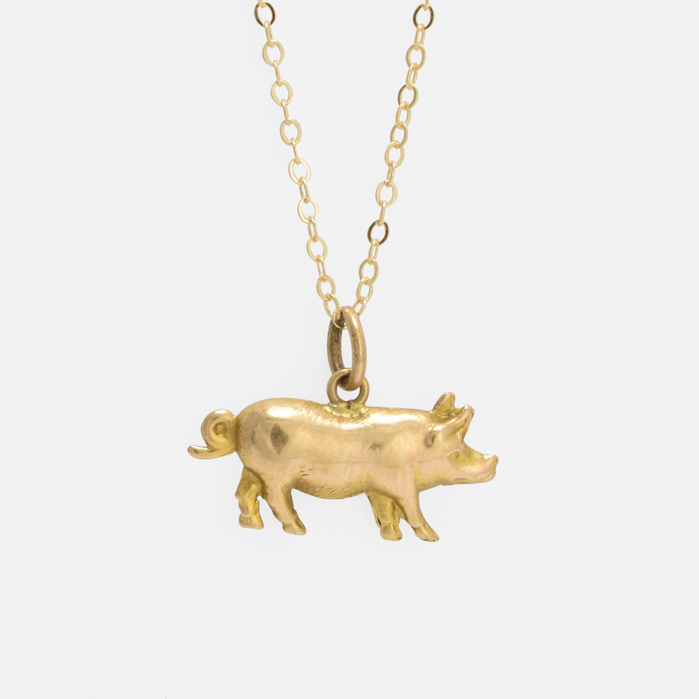 Victorian Gold Lucky Pig Pendant