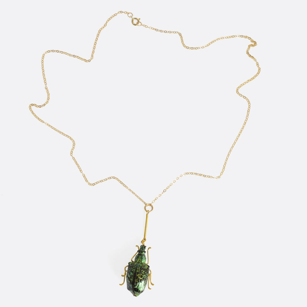 Victorian Green Weevil Beetle Necklace