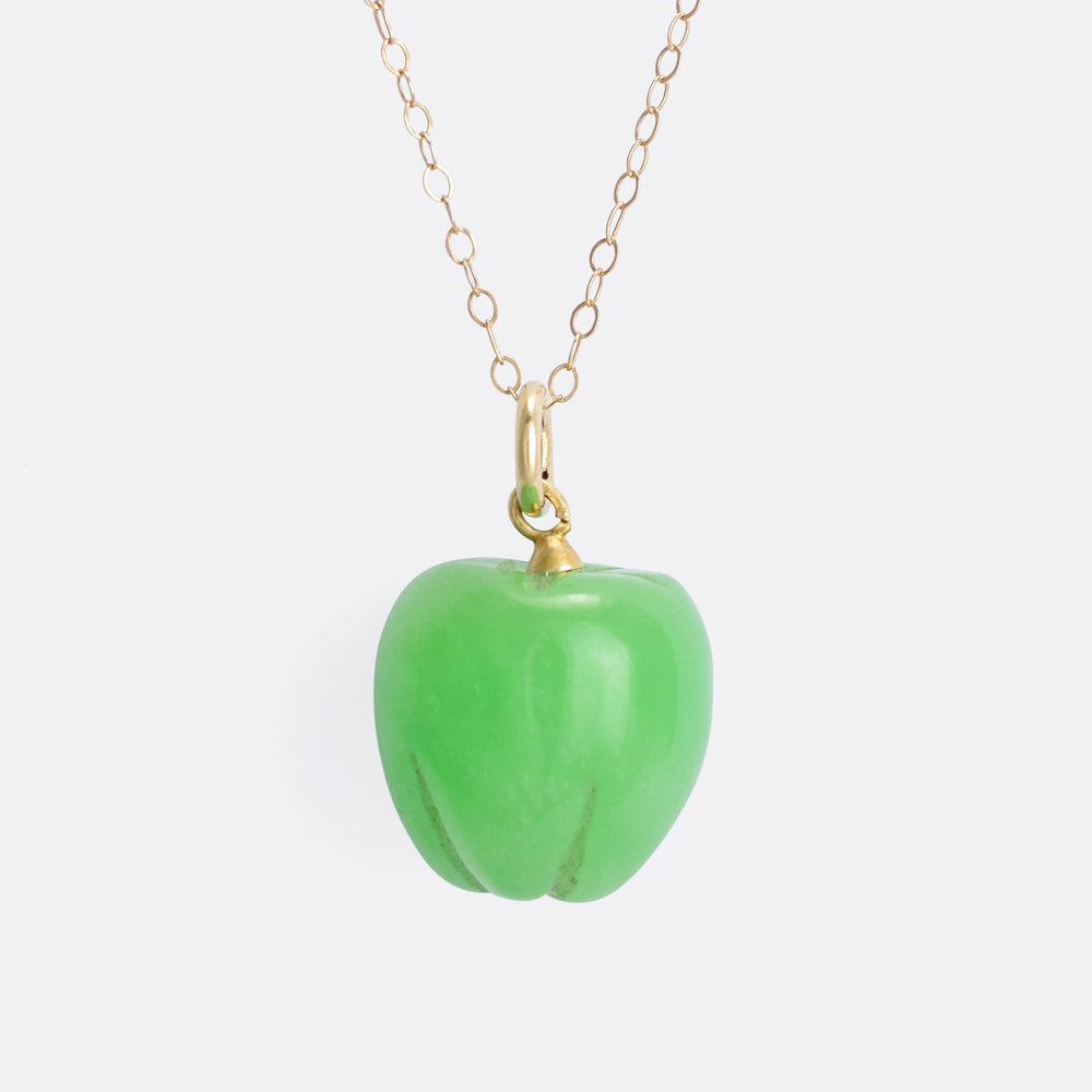 Victorian Jade Green Apple Pendant