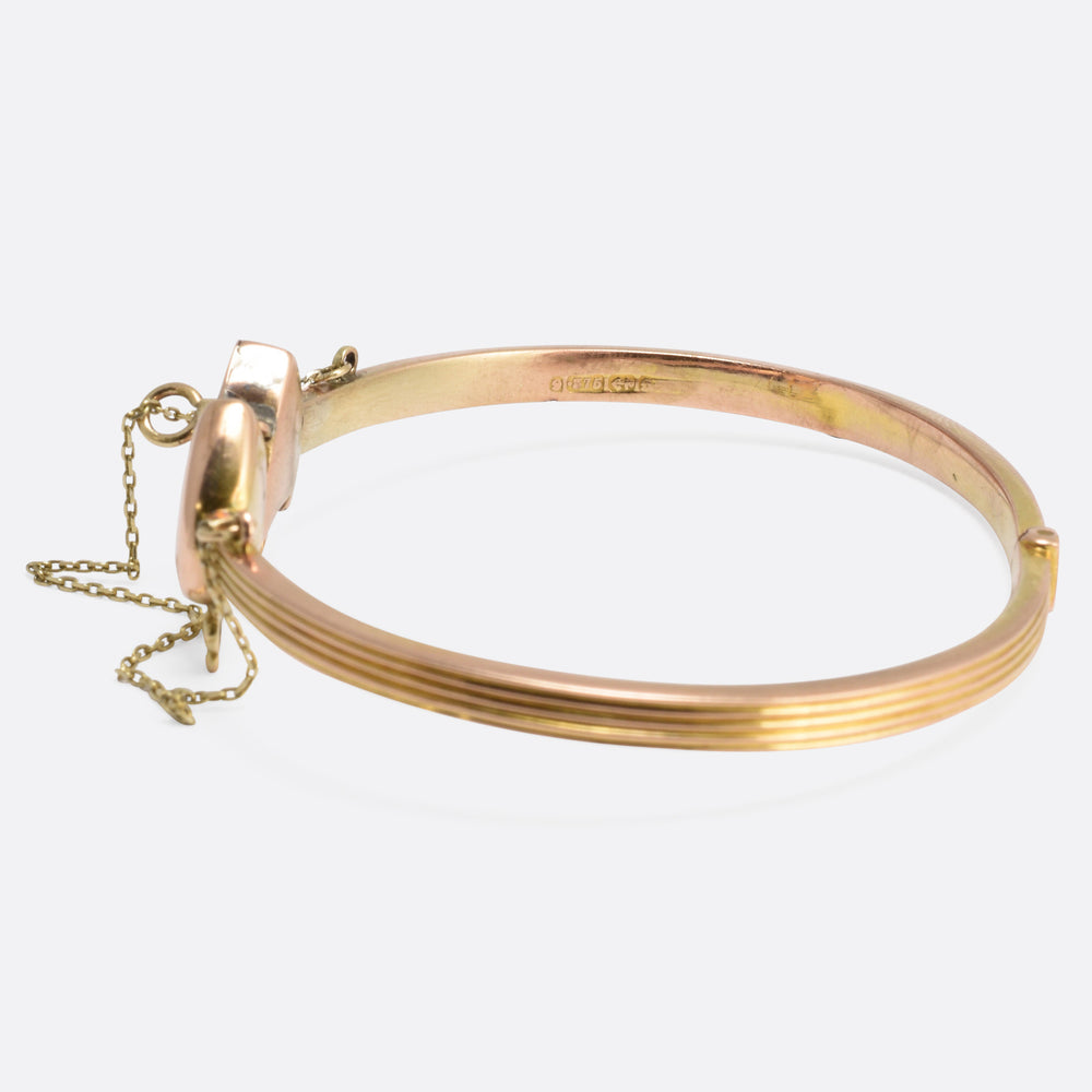 Victorian 'Key to my Heart' Hinged Gold Bangle