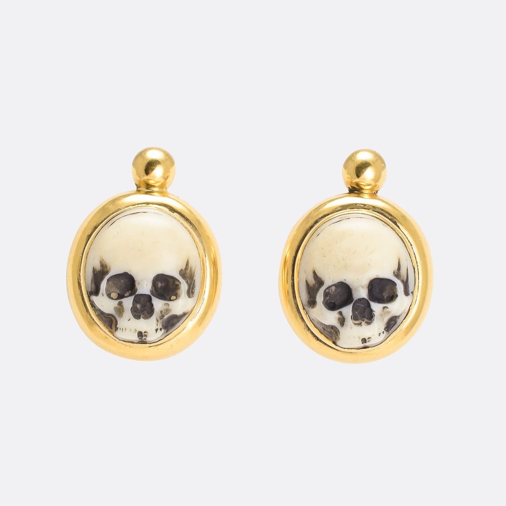 Victorian Memento Mori Skull Earrings