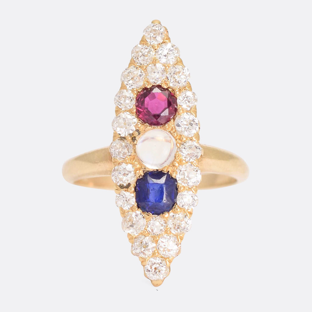 Victorian Moonstone, Ruby, Sapphire & Diamond Marquise Ring