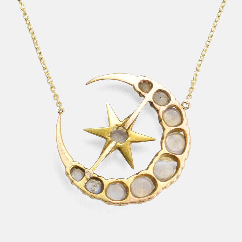 Victorian Moonstone Star & Crescent Necklace