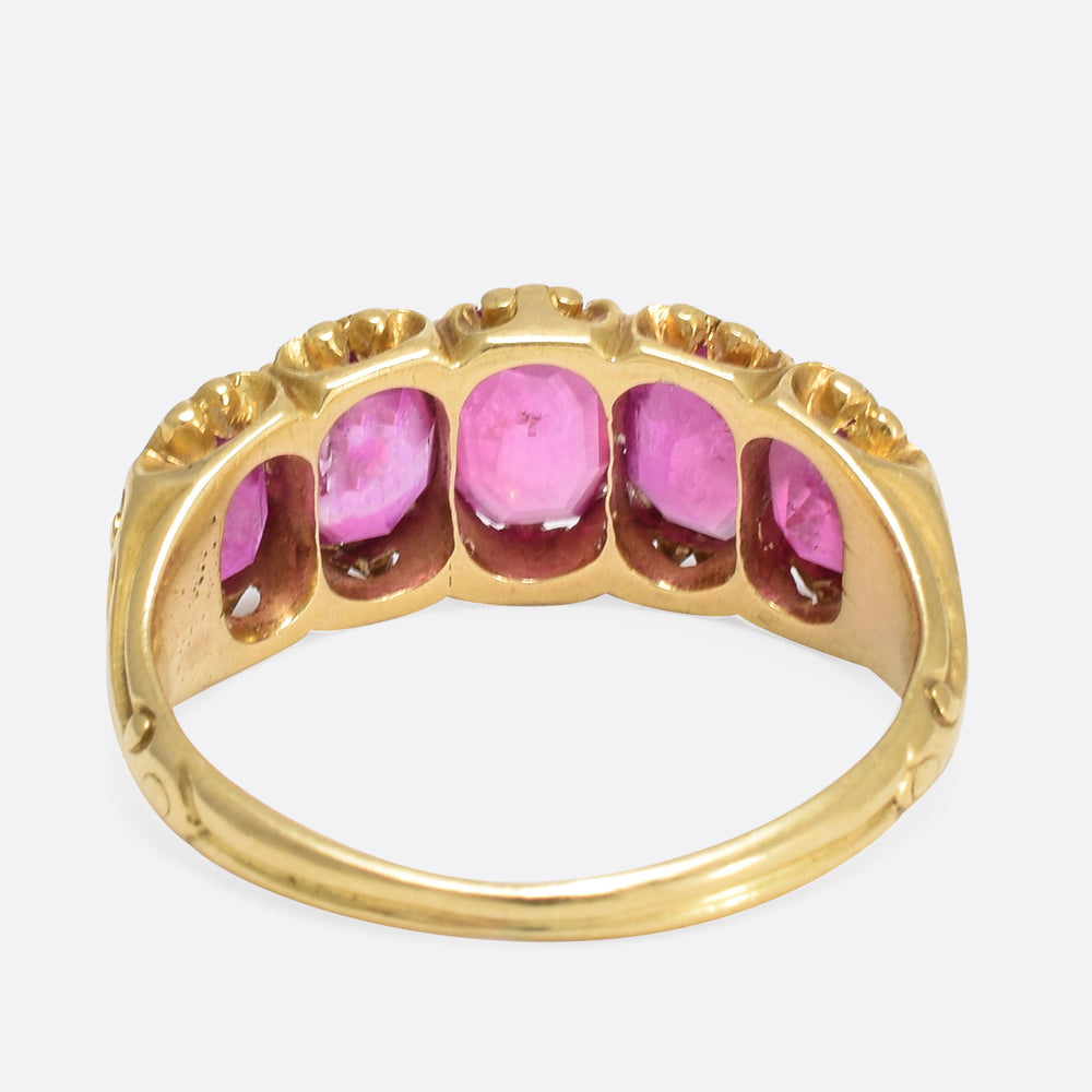 Victorian Natural Ruby 5-Stone Ring