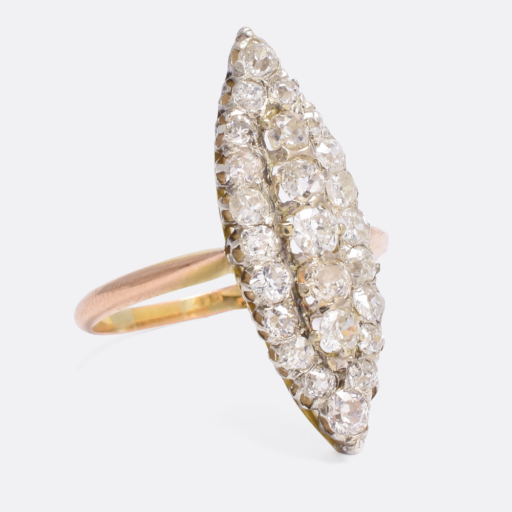 Victorian Old Cut Diamond Navette Ring