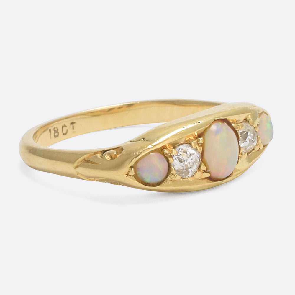 Victorian Opal & Diamond 5-Stone Ring