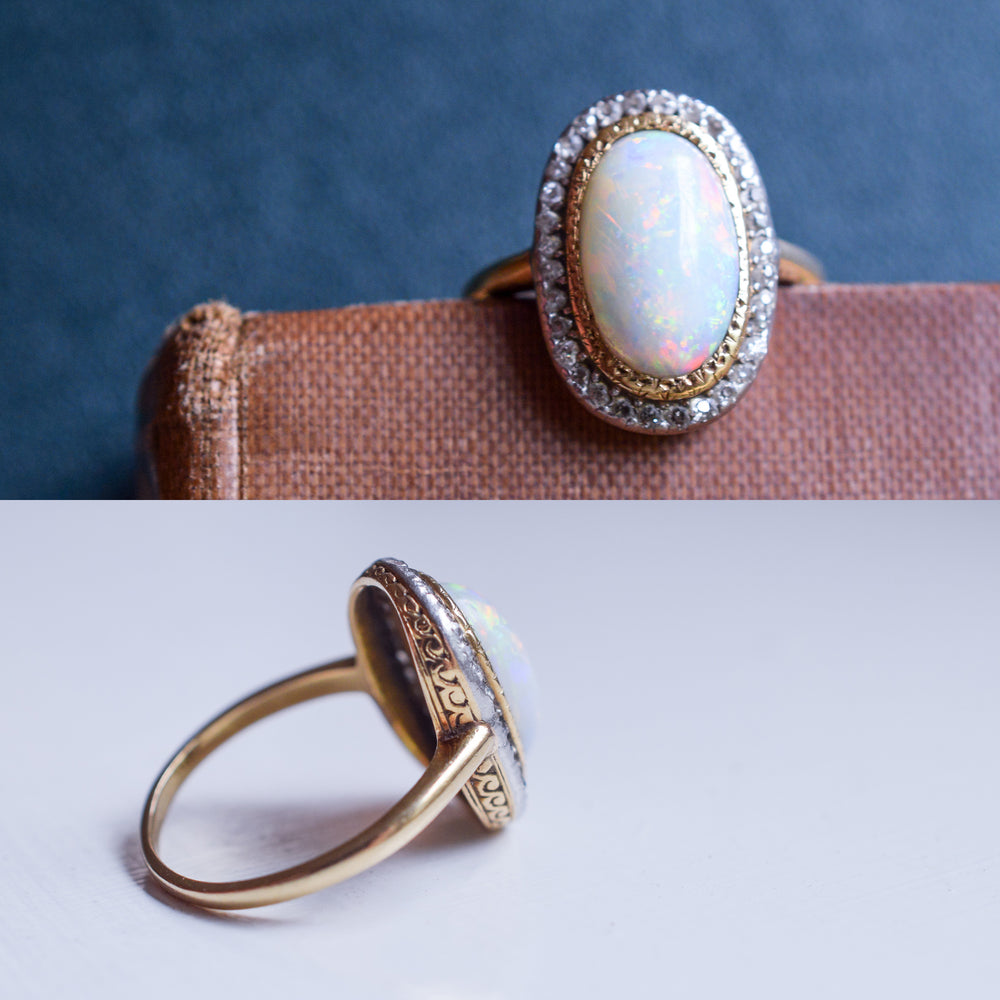 Victorian Opal & Diamond Halo Cluster Ring