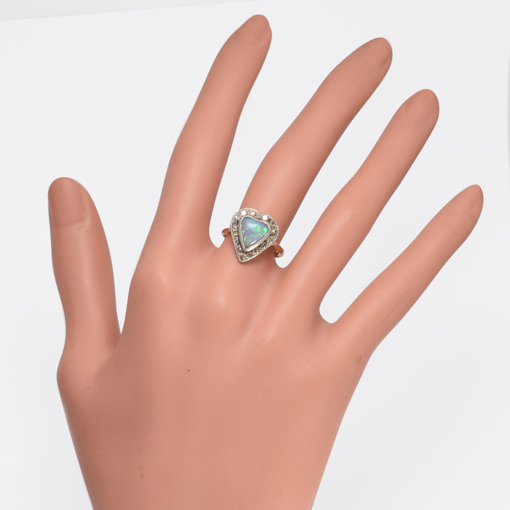Victorian Opal & Diamond Heart Ring