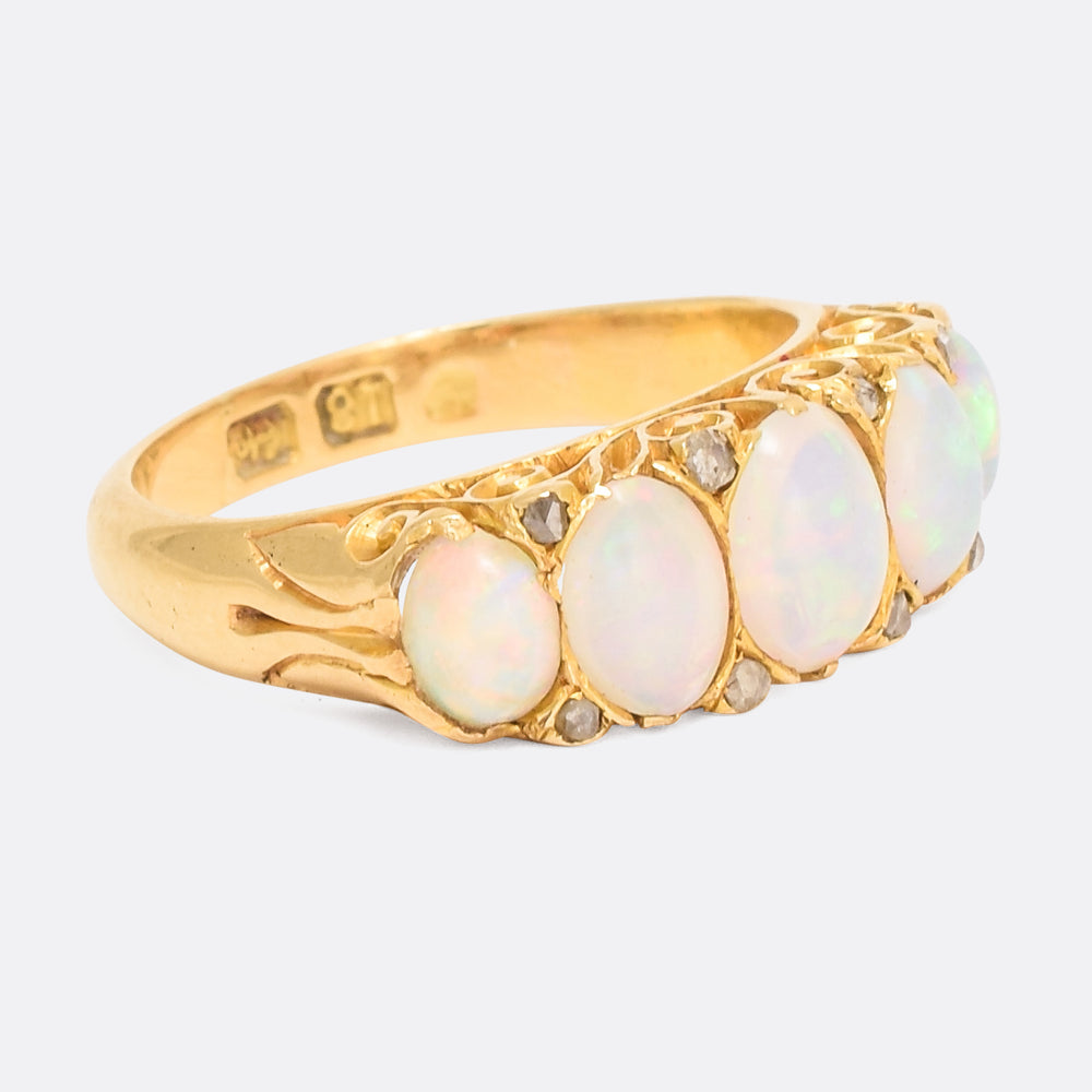 Victorian Opal & Diamond Scrolled 5-Stone Ring