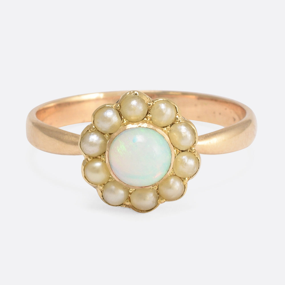 Victorian Opal & Pearl Flower Cluster Ring
