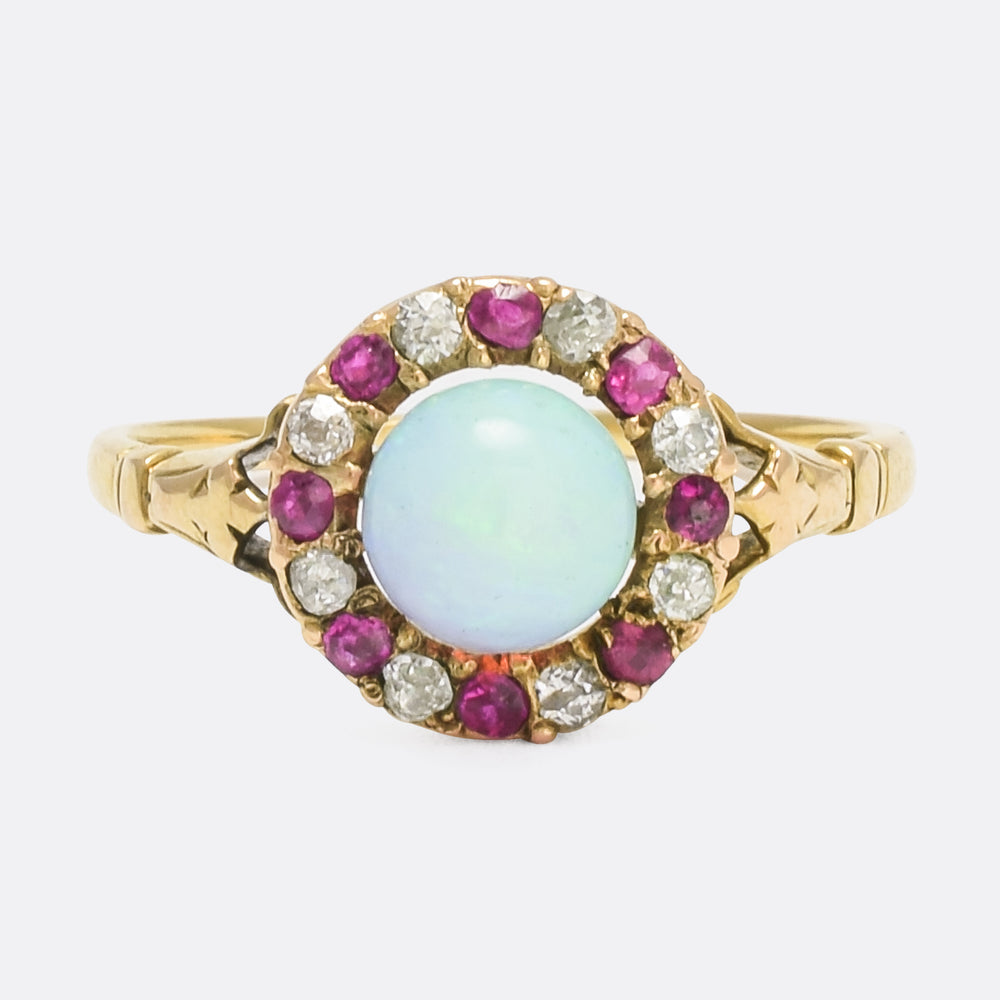 Victorian Opal, Ruby & Diamond Cluster Ring